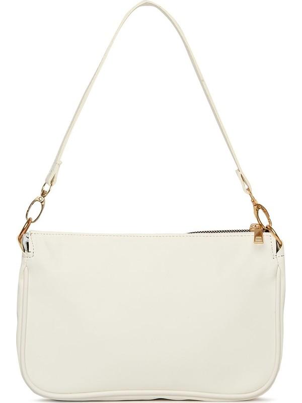 Bagmori Beyaz Saten Fitilli Baget Çanta