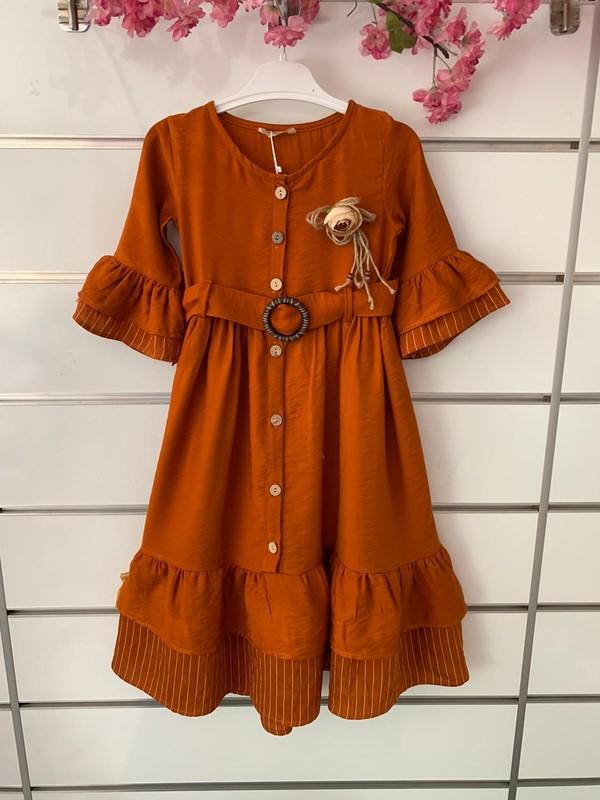 Dandini Çiçekli Aerobin Kemerli Kız Çocuk Elbise