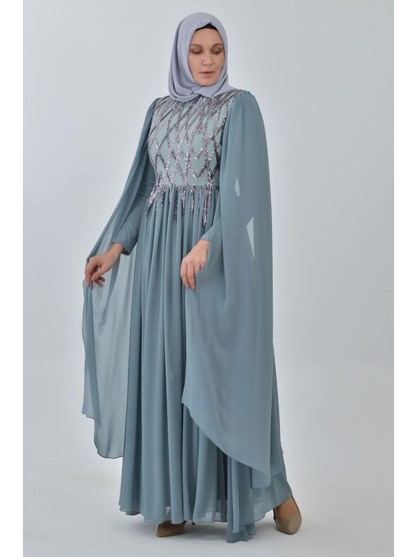 Devri Sultan Payetli Büyük Beden Tesettür Abiye Mint Elbise