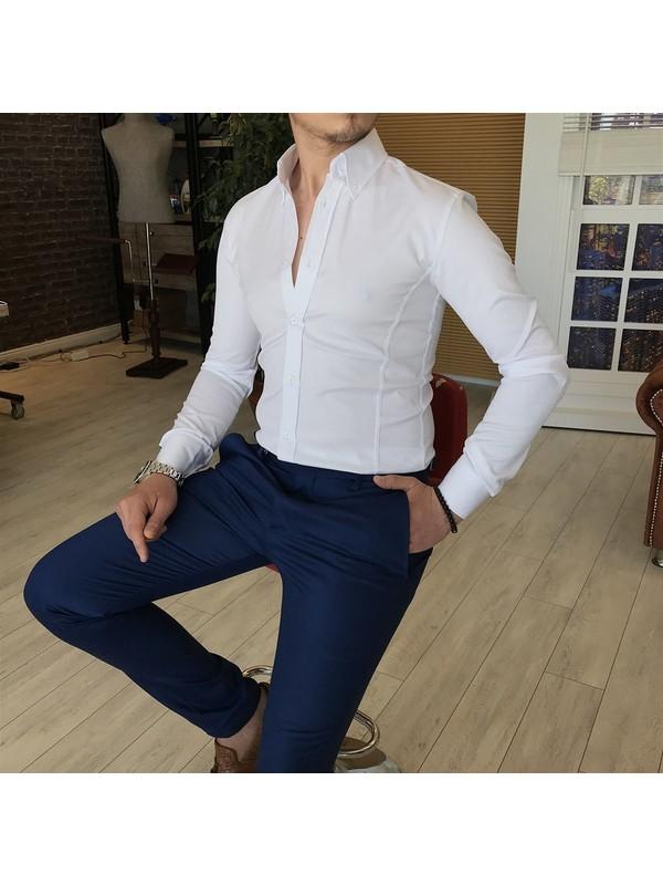 Terzi Adem İtalyan Stil Slim Fit Dik Yaka Saten Erkek Gömlek Beyaz T4754