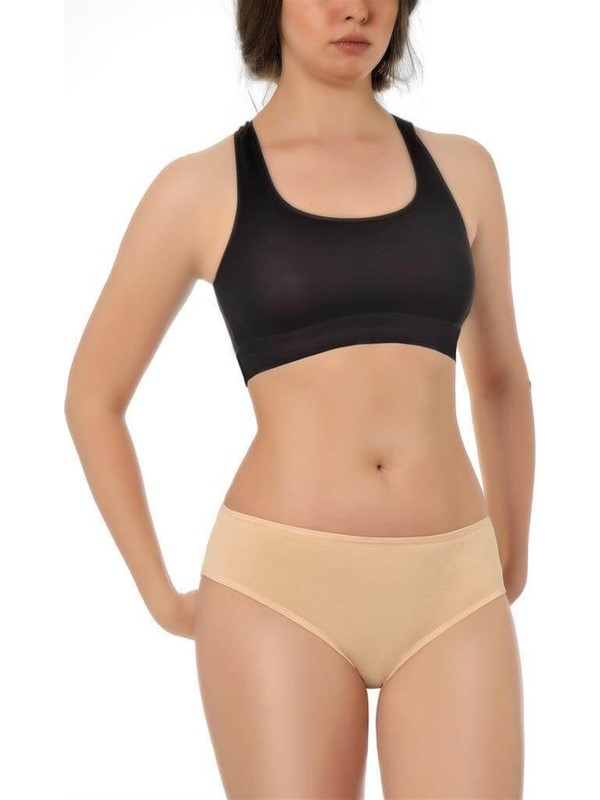 Özten 12'li Paket Özten 205 Ribana Pamuk Kadın Bikini Külot