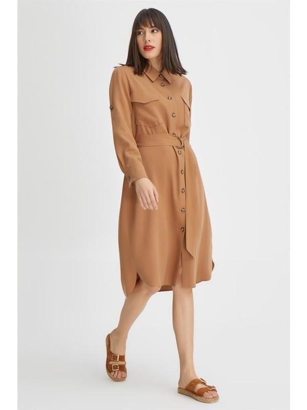 Gusto Önü Düğmeli Tencel Elbise - Tütün