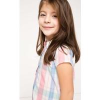 DeFacto Kız Çocuk Belden Bağlamalı Ekoseli Gömlek Pembe