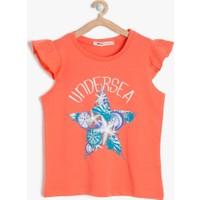 Koton Kız Çocuk Baskılı T-Shirt Mercan