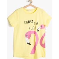 Koton Kız Çocuk Hayvan Baskılı T-Shirt Sarı