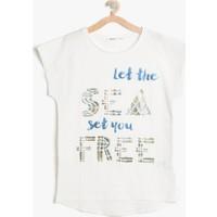 Koton Kız Çocuk Yazılı Baskılı T-Shirt Ekru