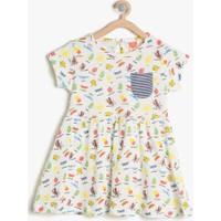 Koton Kız Çocuk Hayvan Baskılı Elbise Ekru