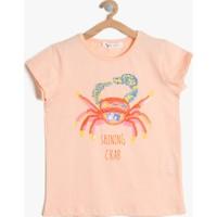 Koton Kız Çocuk Hayvan Baskılı T-Shirt Turuncu