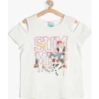 Koton Kız Çocuk Frozen Baskılı T-Shirt Beyaz