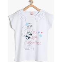 Koton Kız Çocuk The Little Mermaid Baskılı T-Shirt Beyaz