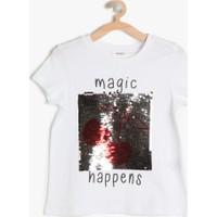 Koton Kız Çocuk Pul Detaylı T-Shirt Ekru