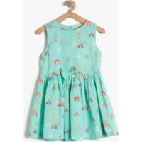 Koton Kız Çocuk Baskılı Elbise Yeşil