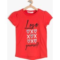 Koton Kız Çocuk Baskılı T-Shirt Kırmızı