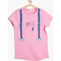 Koton Kız Çocuk Baskılı T-Shirt Gül Rengi