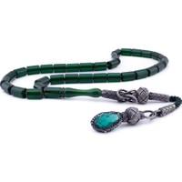 Şahin Gümüş Kapsül Kesim Yeşil Sıkma Kehribar 1000 Ayar Gümüş Kazaziye Püsküllü Tesbih
