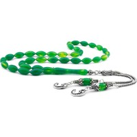 Şahin Gümüş 925 Ayar Gümüş Vav Püsküllü Yeşil Hareli Sıkma Kehribar Tesbih