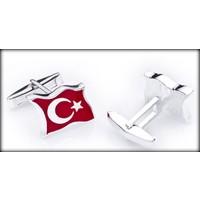 Şahin Gümüş Türk Bayrağı Gümüş Kol Düğmesi