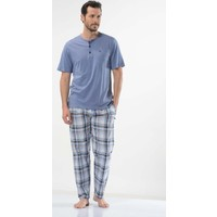 Cacharel 2123 Nopeli V Yaka Poplin Bermuda Erkek Pijama Takımı
