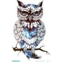 Hane14 Blue Owl Mavili Baykuş Büyük Geçici Dövme