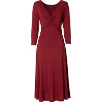 Bonprix Bodyflirt 3/4 Kollu Penye Elbise Kırmızı