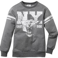 bonprix Kolej Stili Baskılı Sweatshirt Gri