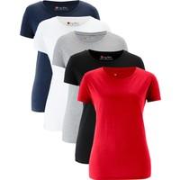 Bpc Bonprix Collection Yuvarlak Yakalı Kısa Kollu Uzun Bluz (5'Li Paket) Kırmızı