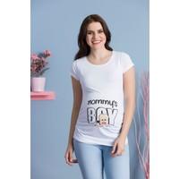 Gör&Sin Mommy'S Boy Kısa Kol Hamile T-Shirt Beyaz