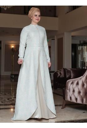 Afra Brokar Abiye Elbise - Mint Yeşili - Saliha