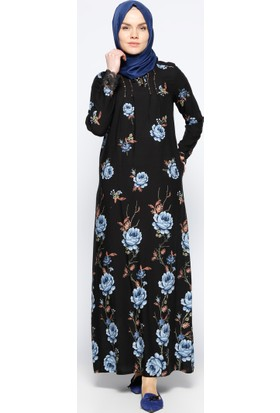 Dantel Detaylı Elbise - Siyah Mavi - Ginezza