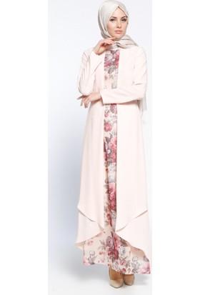 Kemerli Elbise - Pudra - Sevilay Giyim