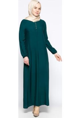 Birit Detaylı Elbise - Yeşil - Ginezza