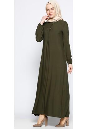 Birit Detaylı Elbise - Haki - Ginezza