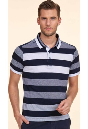 Hemington Polo Yaka Lacivert Beyaz Çizgili T-Shirt