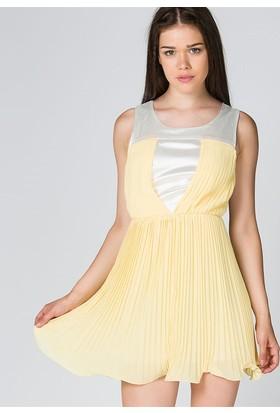 Bonalodi Sarı Saten Kadın Elbise