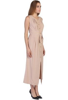 Bonalodi Taş Renk Düğmeli Kuşaklı Kadın Elbise