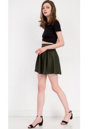 Bsl Fashion Yeşil Mini Etek 7345