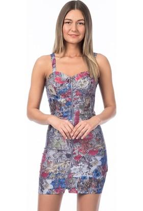 Bsl Fashion Mor Elbise 7084