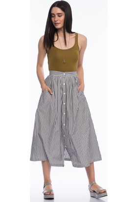 Bsl Fashion Lacivert Etek 9316