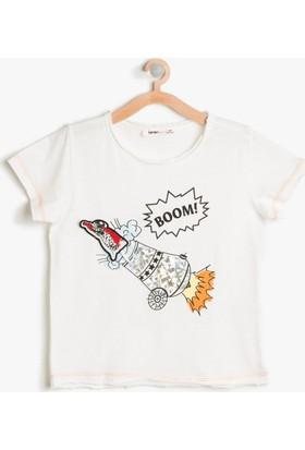 Koton Erkek Çocuk 3 Boyutlu T-Shirt Beyaz