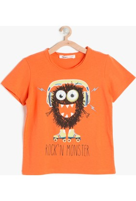 Koton Erkek Çocuk Baskılı T-Shirt Turuncu