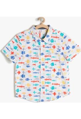 Koton Erkek Çocuk Desenli Gömlek Beyaz