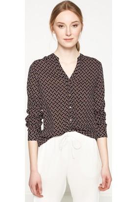 Koton Kadın Desenli Gömlek Siyah