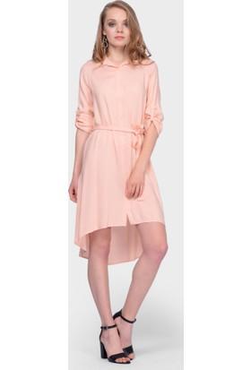 İroni Asimetrik Somon Gömlek Elbise