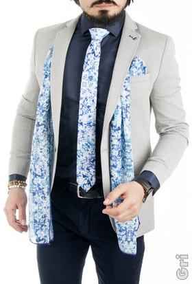 DeepSEA Gri Petek Desenli Tek Düğme Tek Yırtmaçlı Blazer Erkek Ceket 1760030-012