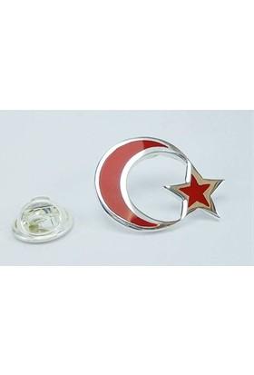 Osmanlı Gümüş Mineli Türk Bayraği Gümüş Rozet