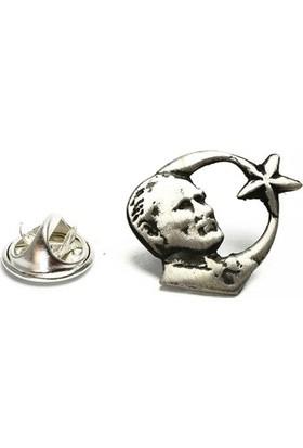 Osmanlı Gümüş Oksitli Ayyıldızlı Atatürk Gümüş Rozet