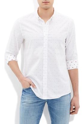 Mavi Erkek Jakarlı Beyaz Gömlek