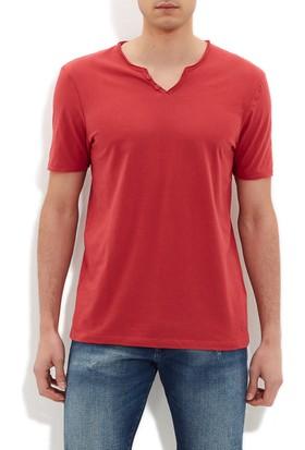 Mavi Erkek Düğmeli Yaka Kırmızı Basic T-Shirt