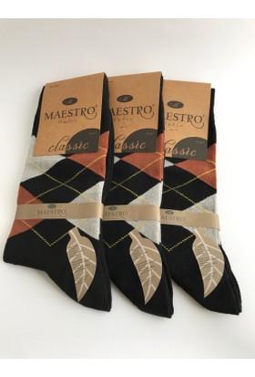 Maestro 3'lü Erkek Çorap Seti Siyah Turuncu Baklava Desenli Parfümlü