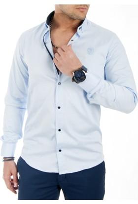 Deepsea Mavi Çıtçıtlı Pamuk Saten Uzun Kollu Erkek Gömlek 1601564-005